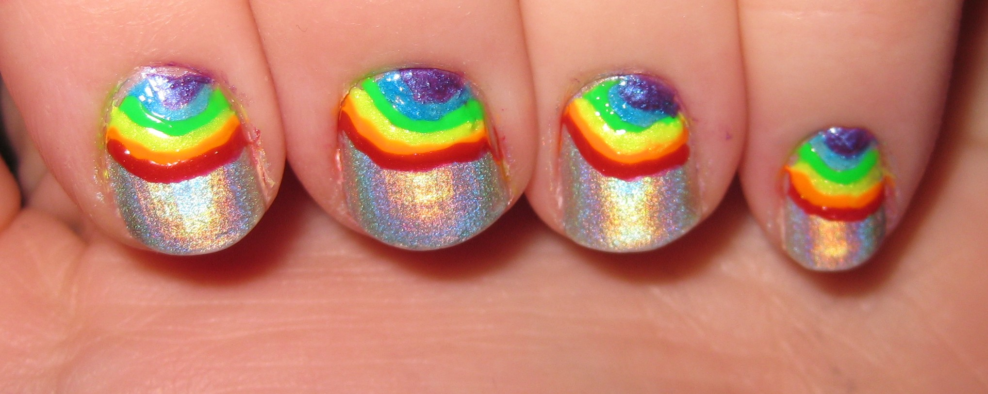 Rainbow Holographic Nails | Vintage or Tacky
